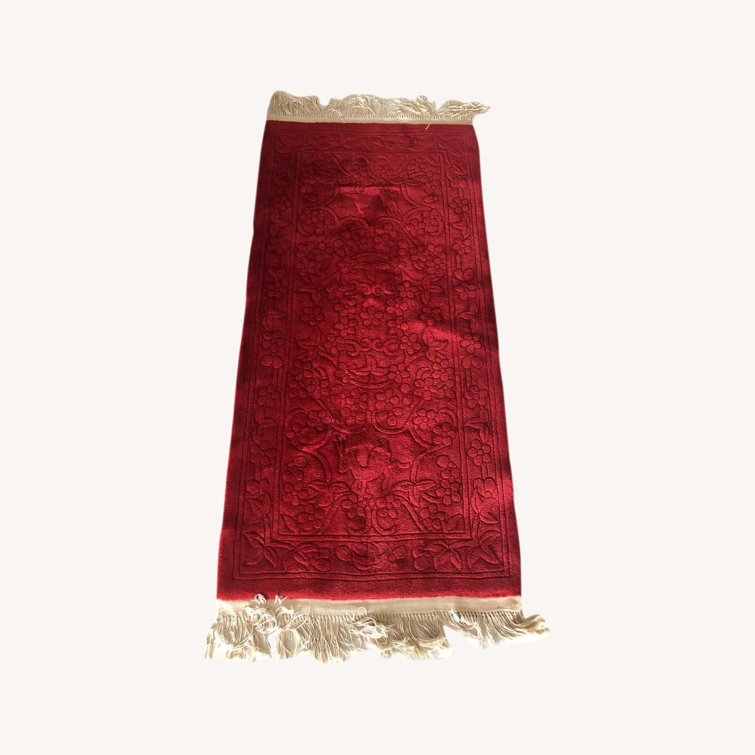 Oriental 100% Wool Red Runner with Fringes - image-0