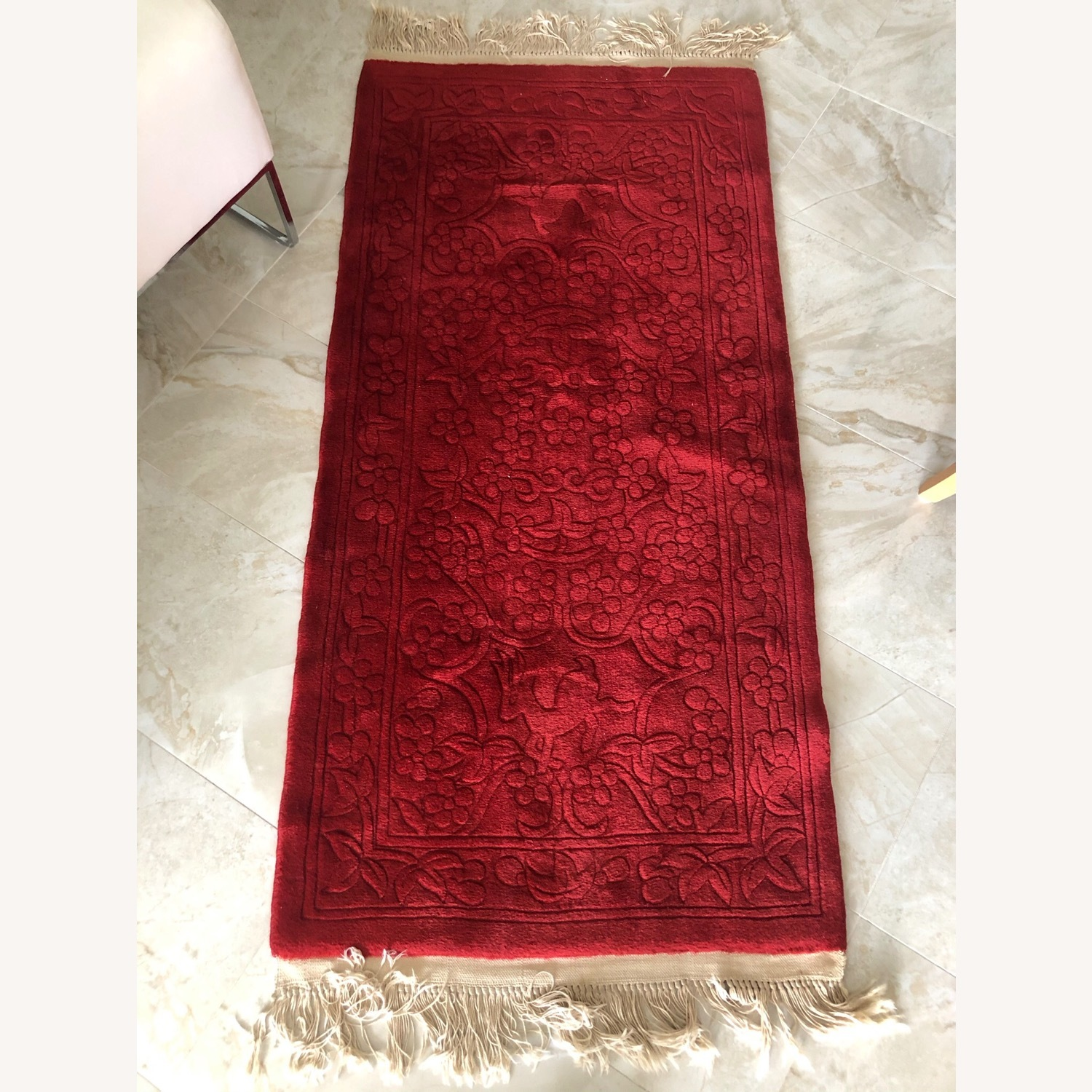 Oriental 100% Wool Red Runner with Fringes - image-5