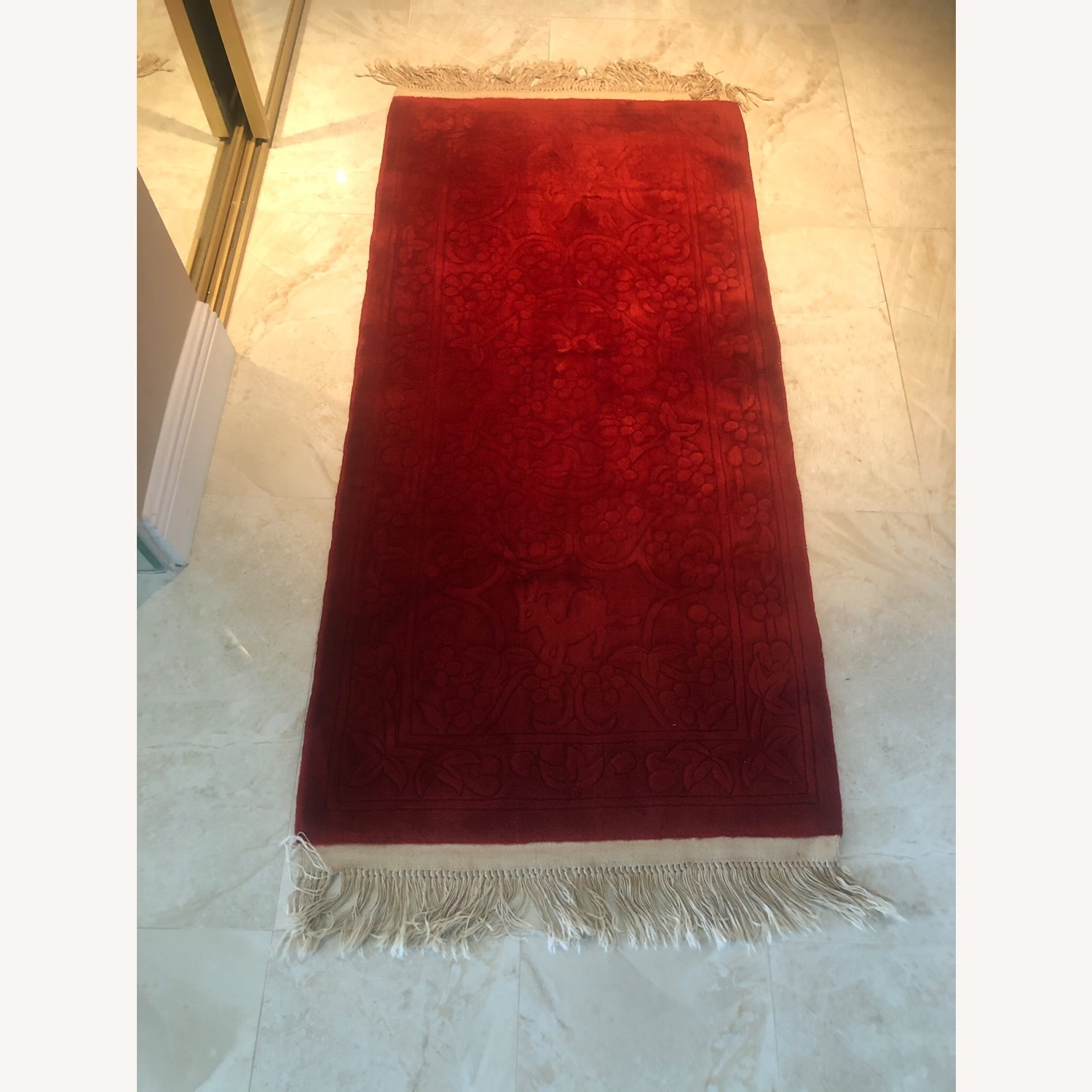 Oriental 100% Wool Red Runner with Fringes - image-2