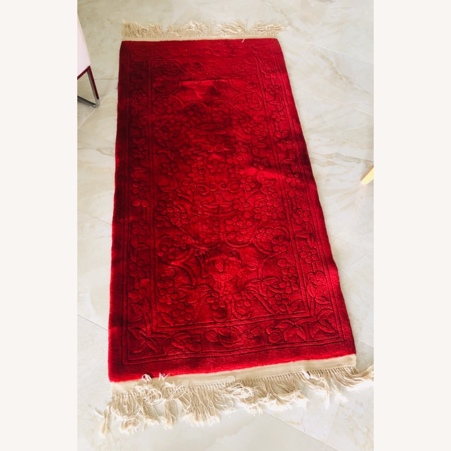 Oriental 100% Wool Red Runner with Fringes - image-1
