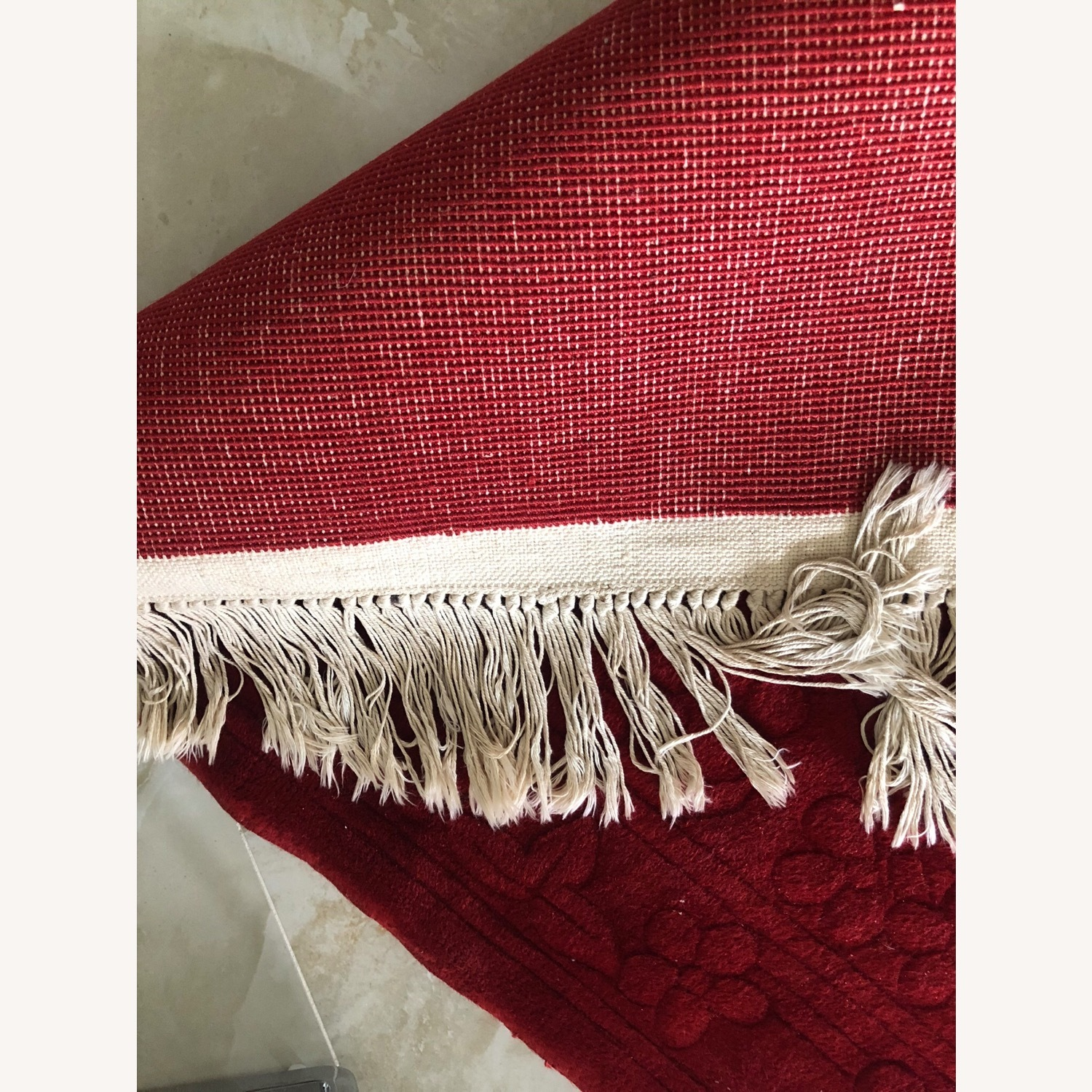 Oriental 100% Wool Red Runner with Fringes - image-4