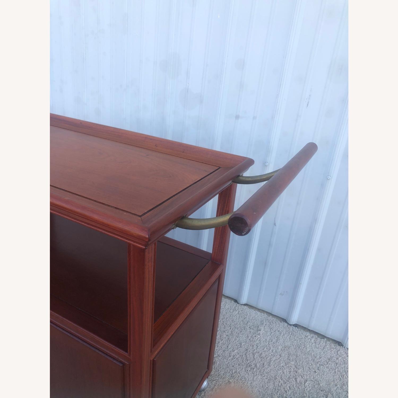 Mid Century Wheeled Bar Cart with Storage Cabinet - image-9