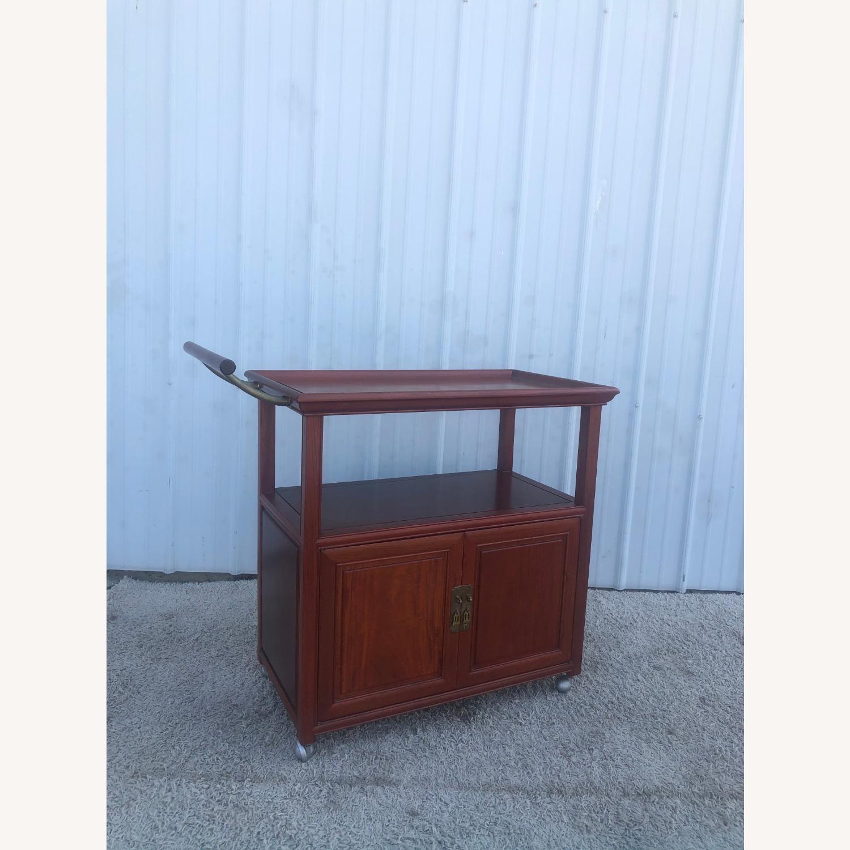 Mid Century Wheeled Bar Cart with Storage Cabinet - image-4