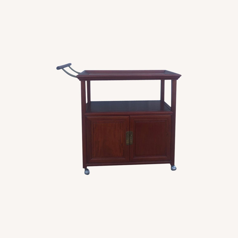 Mid Century Wheeled Bar Cart with Storage Cabinet - image-0