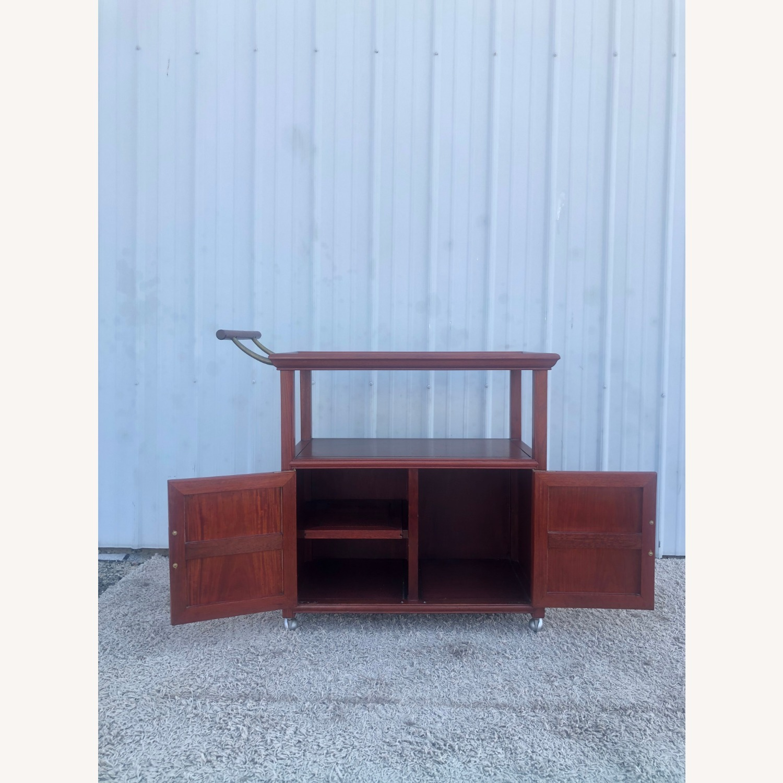 Mid Century Wheeled Bar Cart with Storage Cabinet - image-2