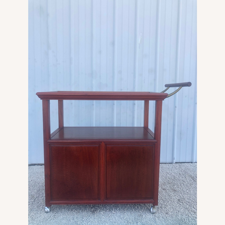 Mid Century Wheeled Bar Cart with Storage Cabinet - image-7