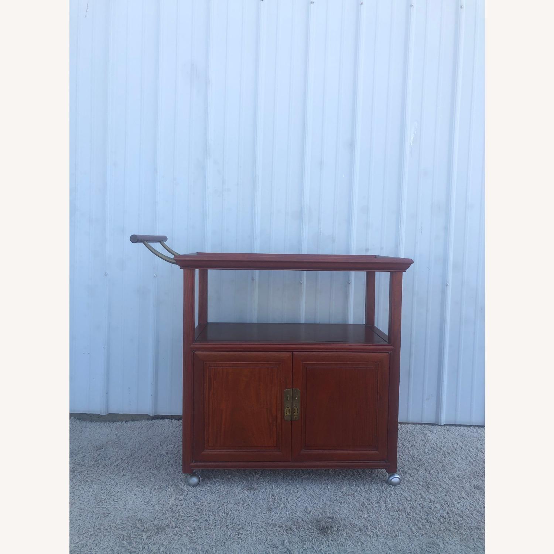 Mid Century Wheeled Bar Cart with Storage Cabinet - image-1
