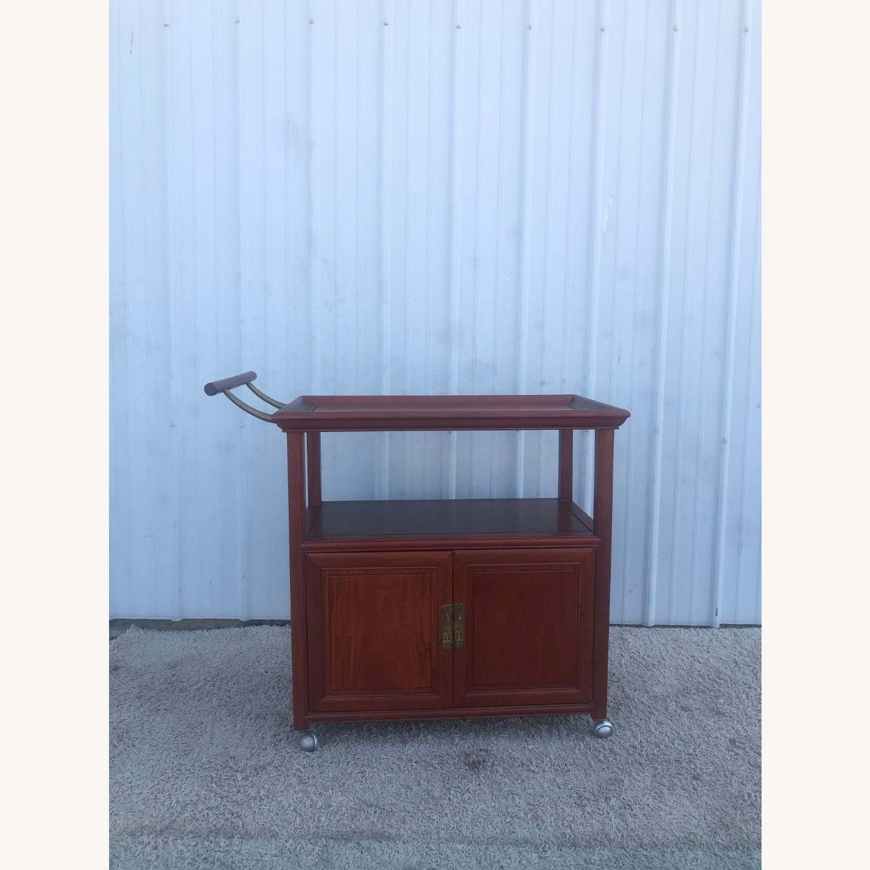 Mid Century Wheeled Bar Cart with Storage Cabinet - image-12