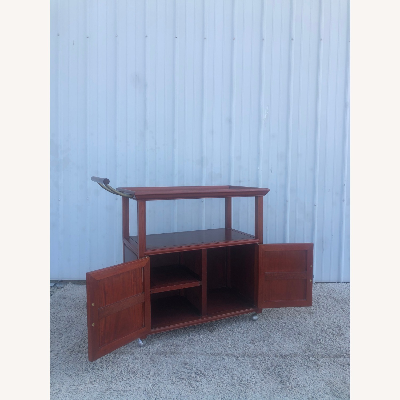 Mid Century Wheeled Bar Cart with Storage Cabinet - image-3