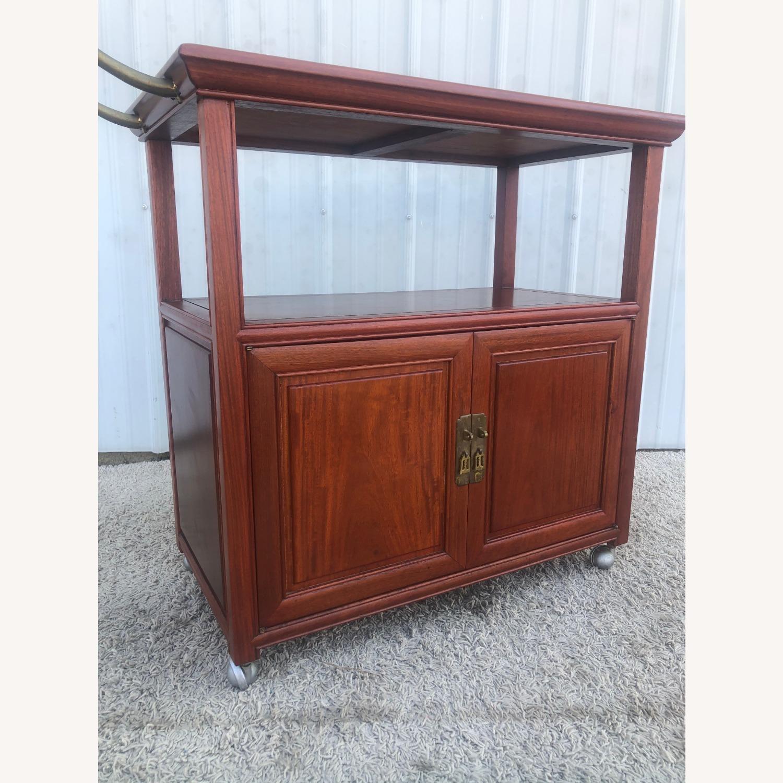 Mid Century Wheeled Bar Cart with Storage Cabinet - image-5