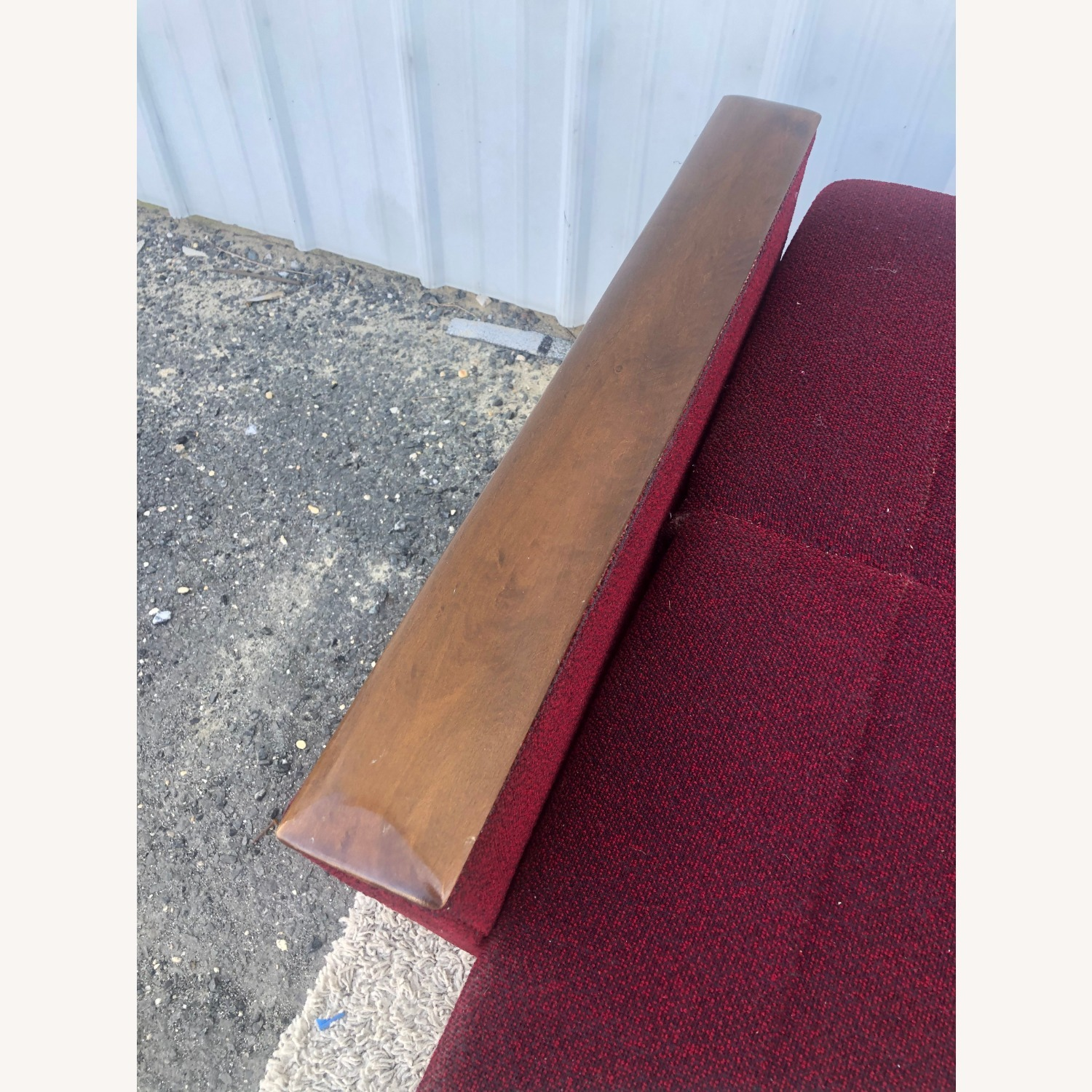 Mid Century Sleeper Sofa with Walnut Arms - image-20