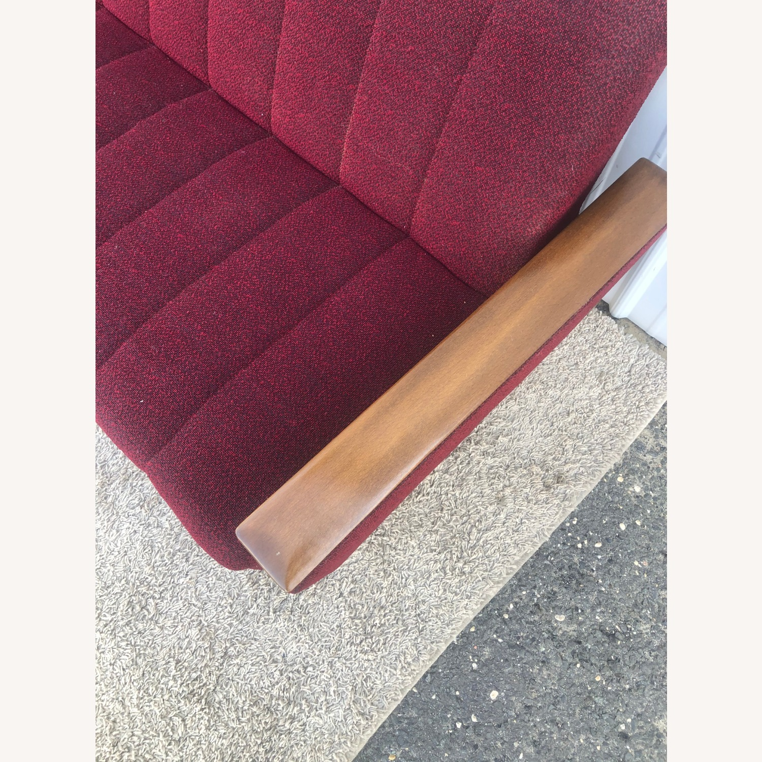 Mid Century Sleeper Sofa with Walnut Arms - image-5