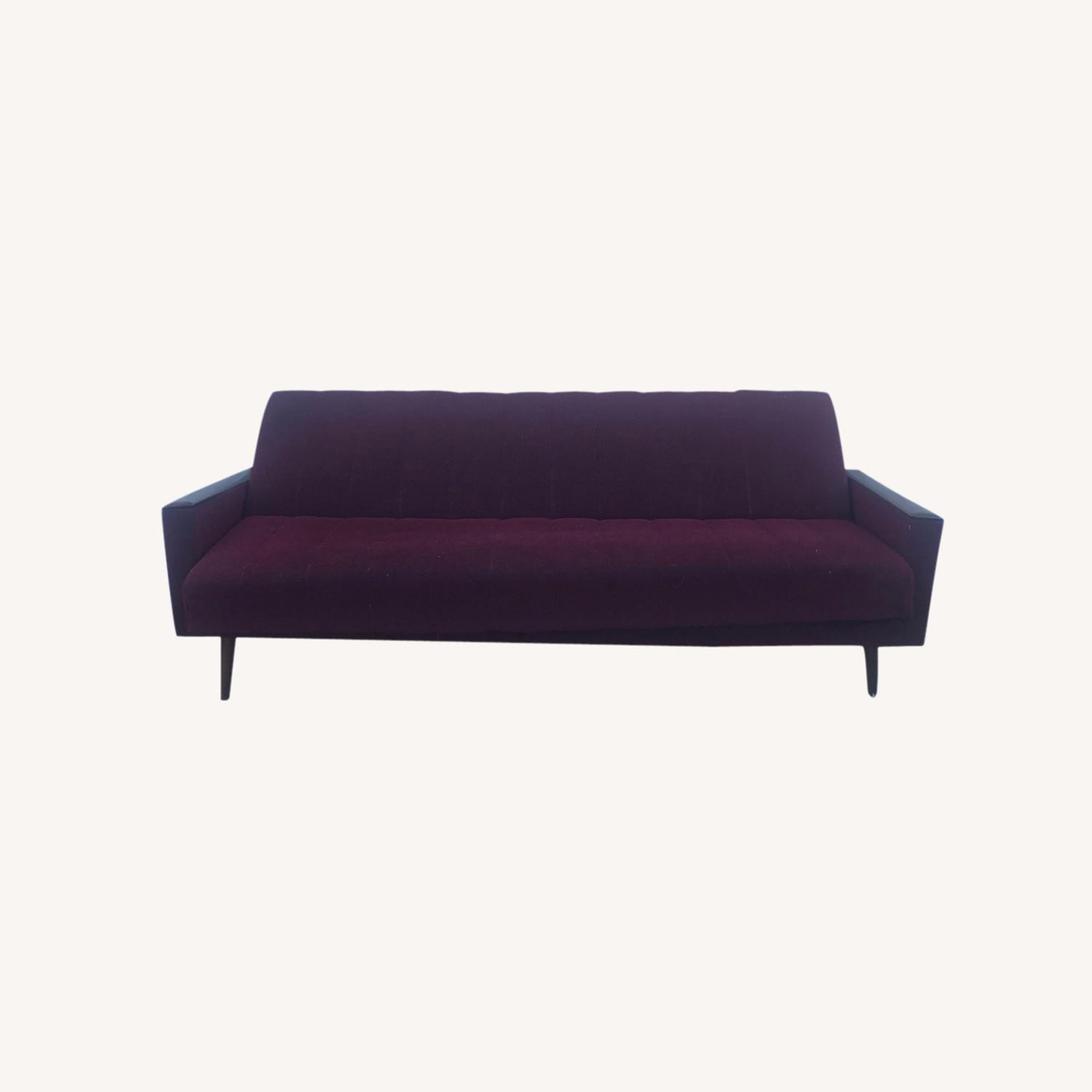 Mid Century Sleeper Sofa with Walnut Arms - image-0