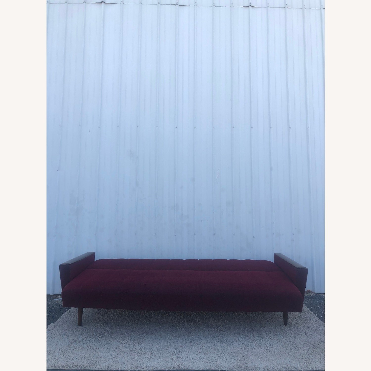 Mid Century Sleeper Sofa with Walnut Arms - image-13