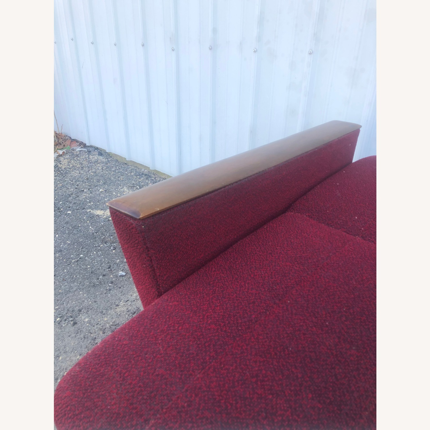 Mid Century Sleeper Sofa with Walnut Arms - image-19