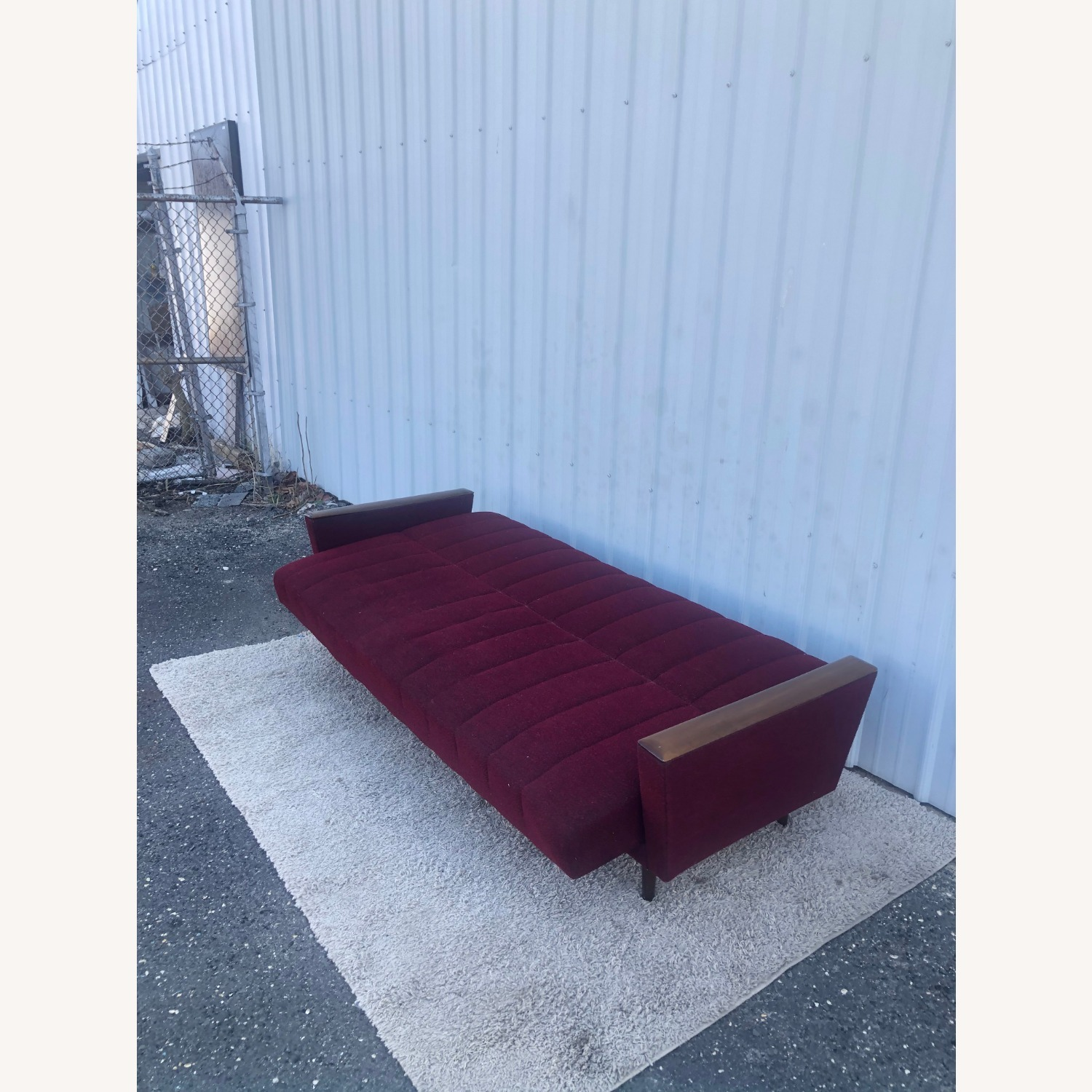 Mid Century Sleeper Sofa with Walnut Arms - image-14