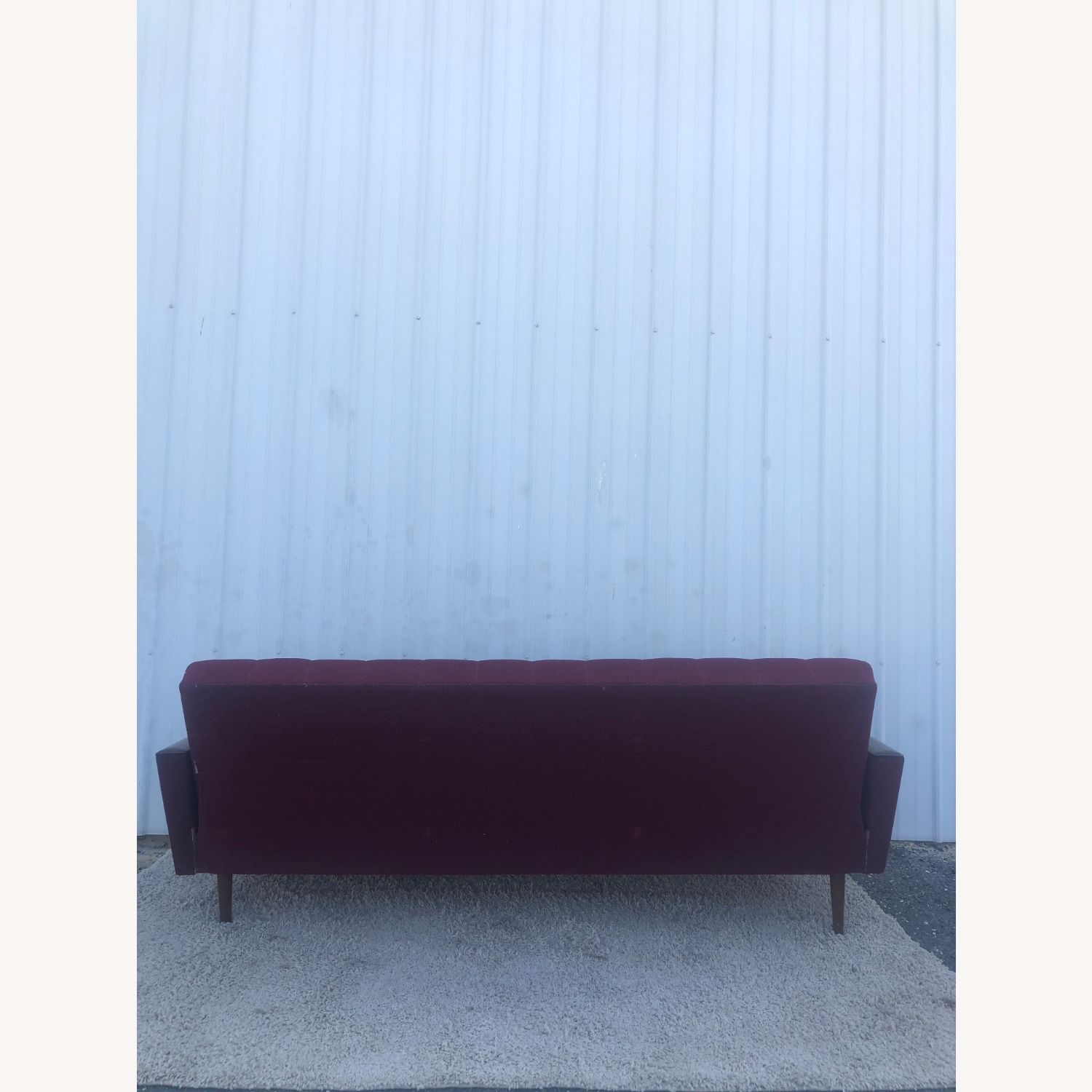 Mid Century Sleeper Sofa with Walnut Arms - image-22