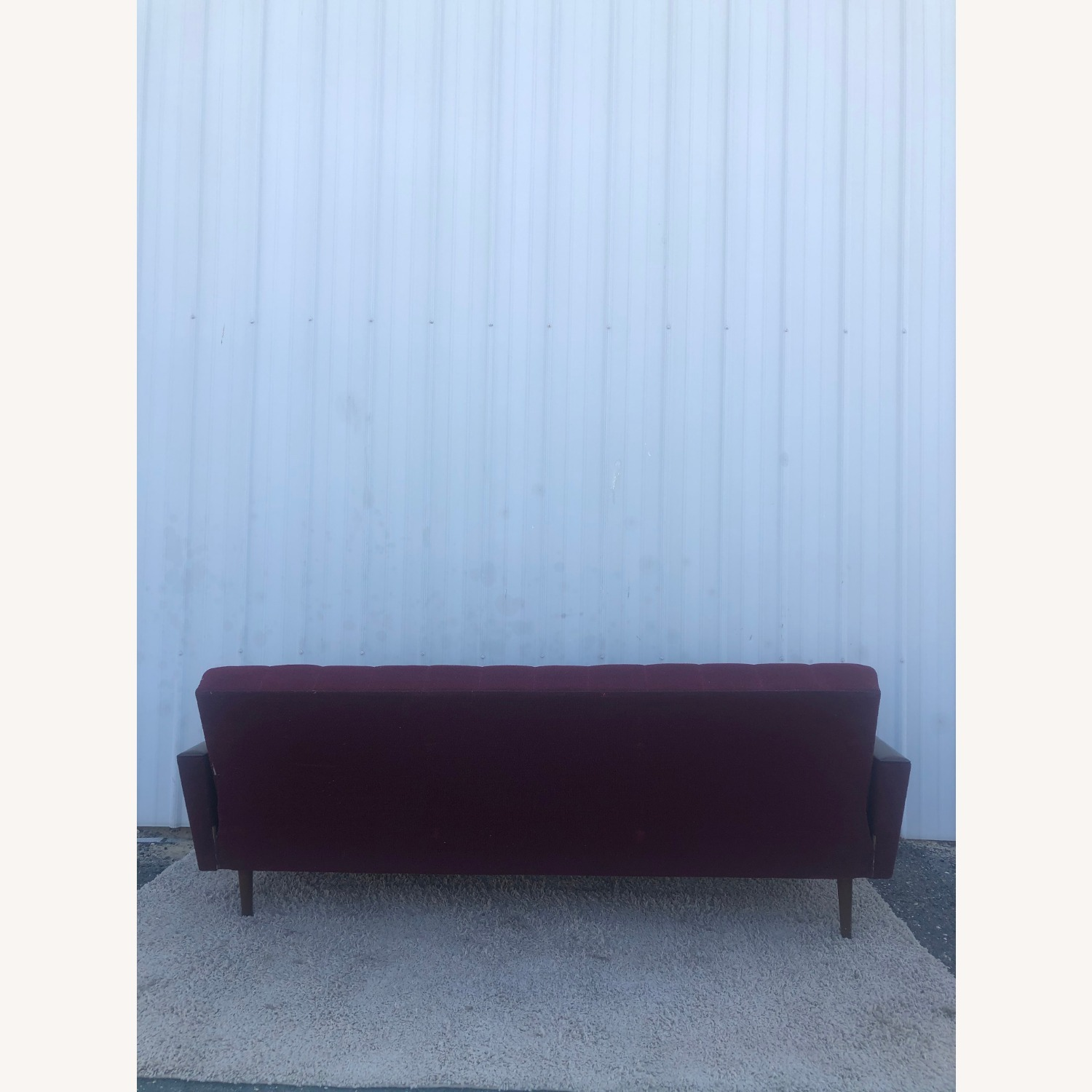 Mid Century Sleeper Sofa with Walnut Arms - image-26