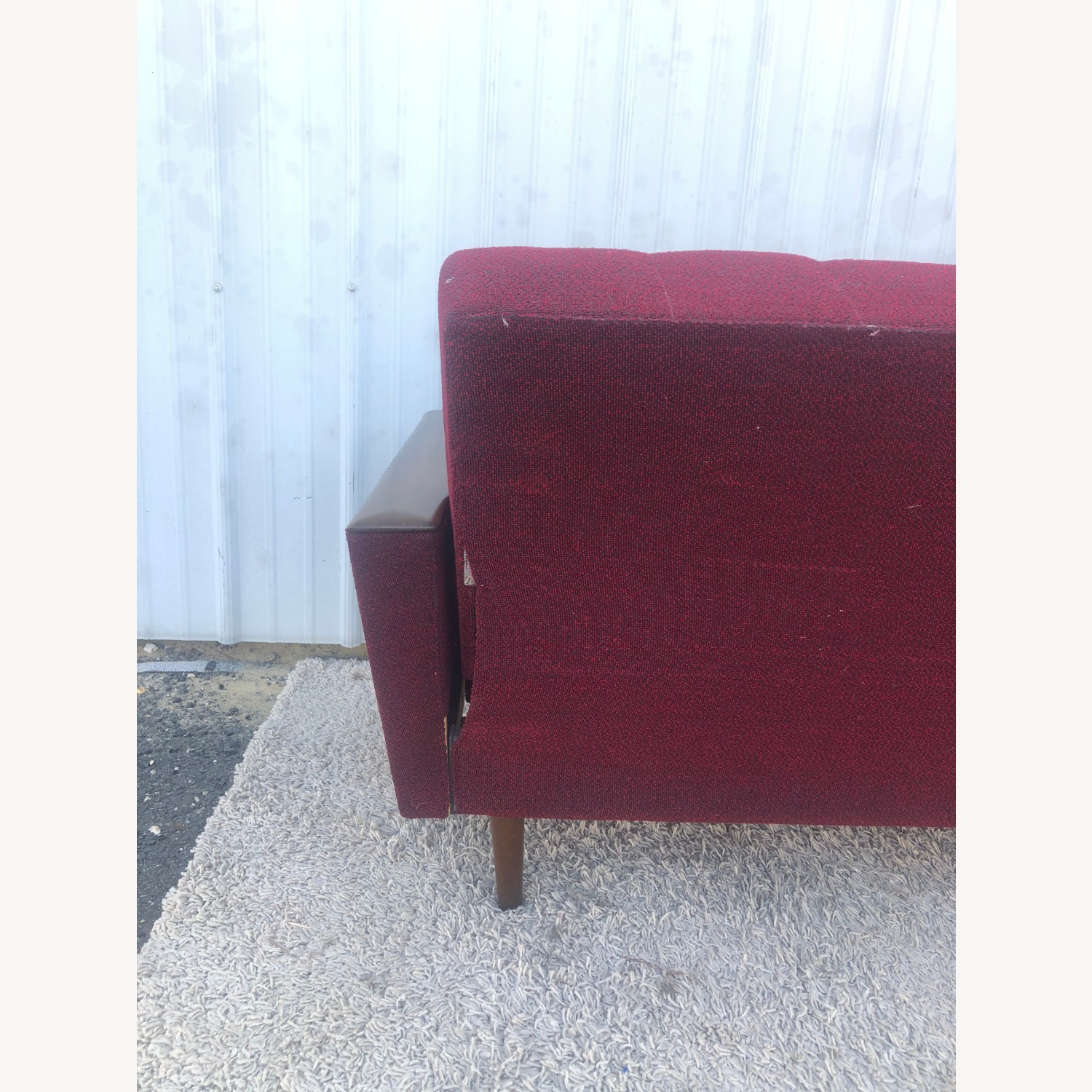 Mid Century Sleeper Sofa with Walnut Arms - image-23