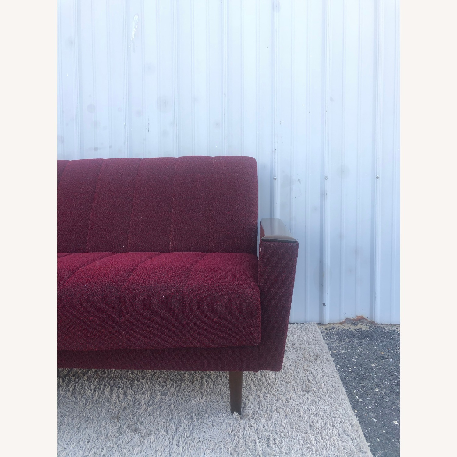 Mid Century Sleeper Sofa with Walnut Arms - image-10