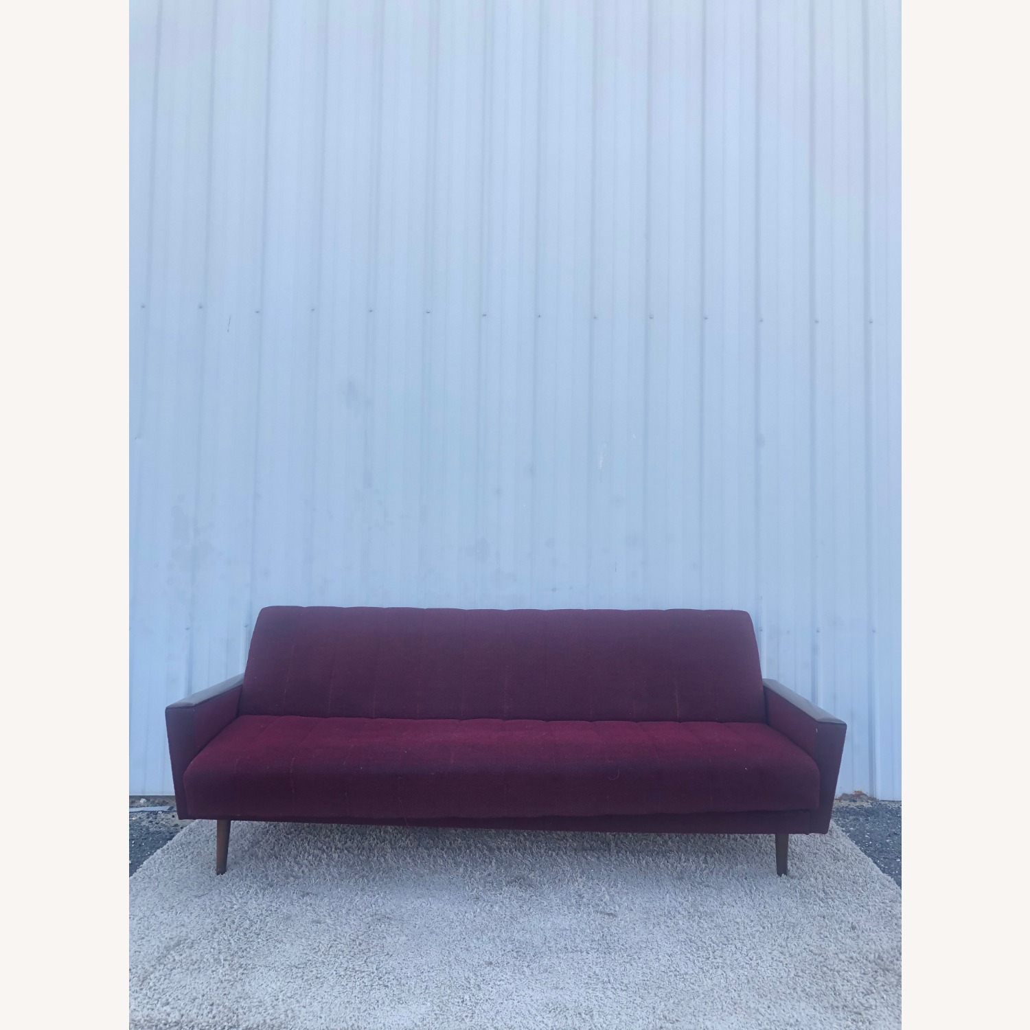 Mid Century Sleeper Sofa with Walnut Arms - image-2