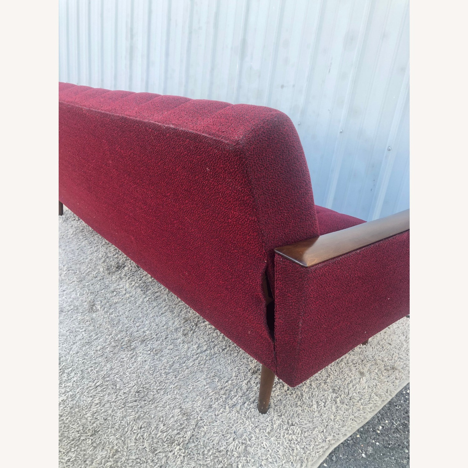 Mid Century Sleeper Sofa with Walnut Arms - image-25