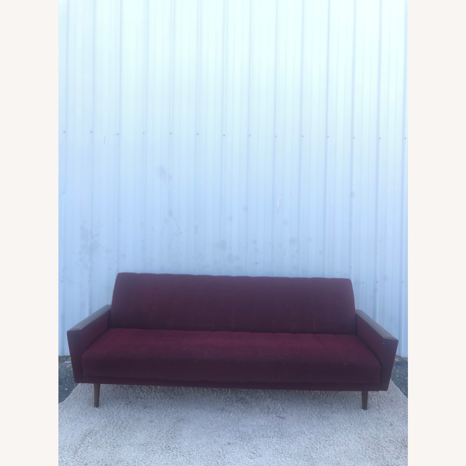 Mid Century Sleeper Sofa with Walnut Arms - image-12