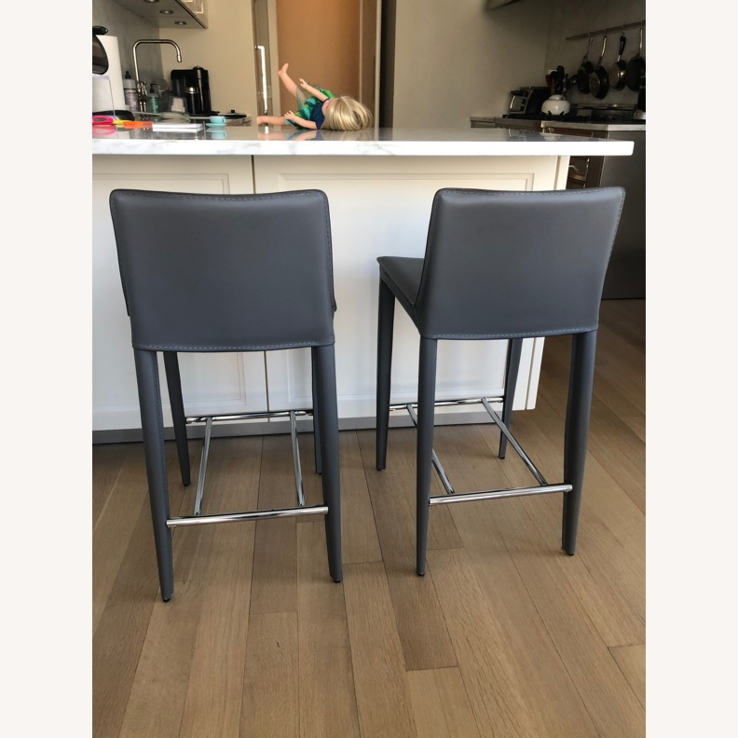 Pair of Bonded Leather Counter Stools (Cite) - image-1