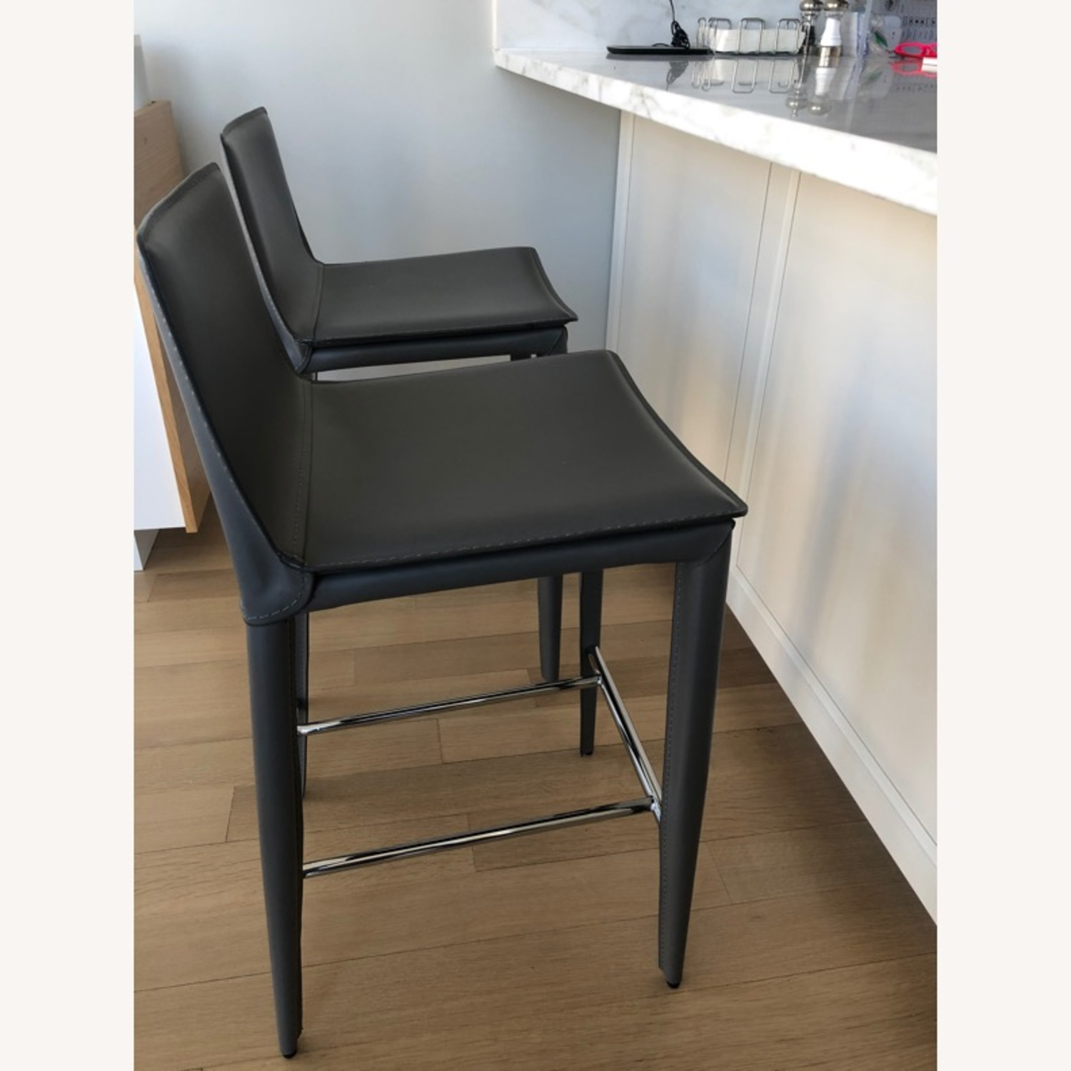 Pair of Bonded Leather Counter Stools (Cite) - image-2