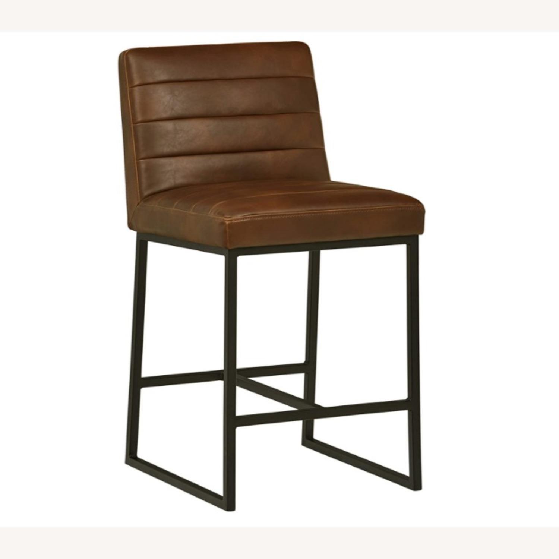 Mid Century Modern Dark Brown Faux Leather Stool - image-1