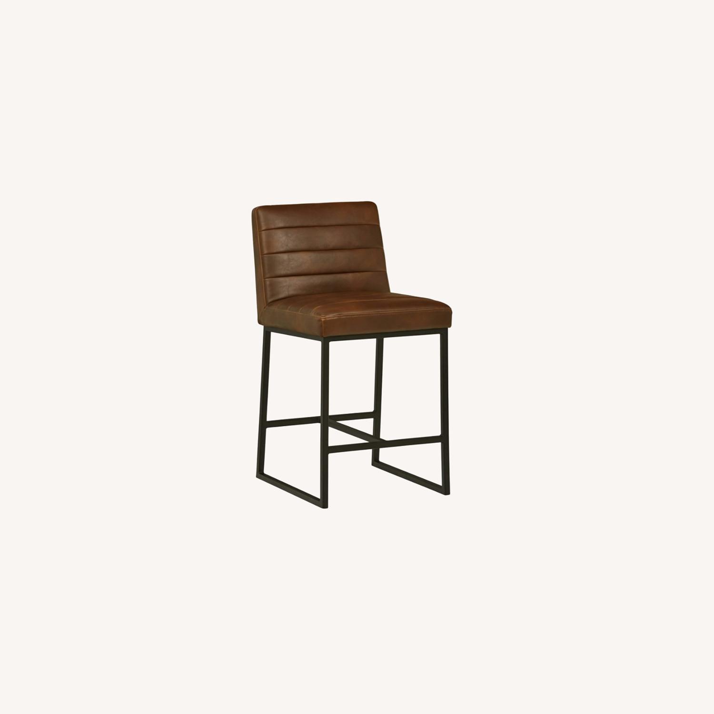 Mid Century Modern Dark Brown Faux Leather Stool - image-0