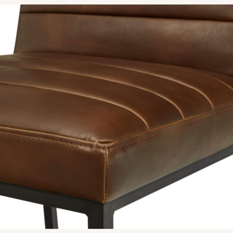 Mid Century Modern Dark Brown Faux Leather Stool - image-3