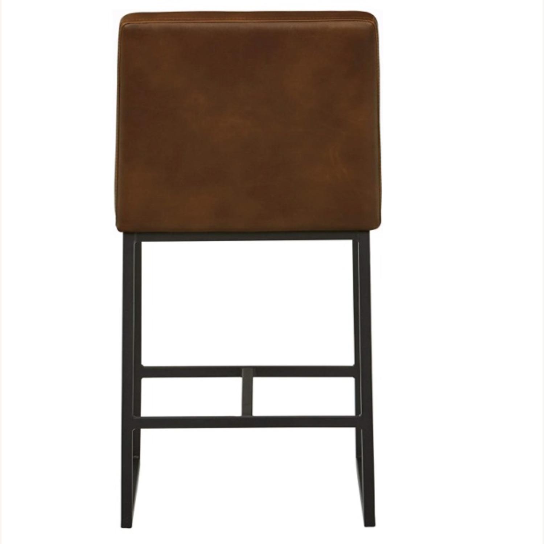 Mid Century Modern Dark Brown Faux Leather Stool - image-2