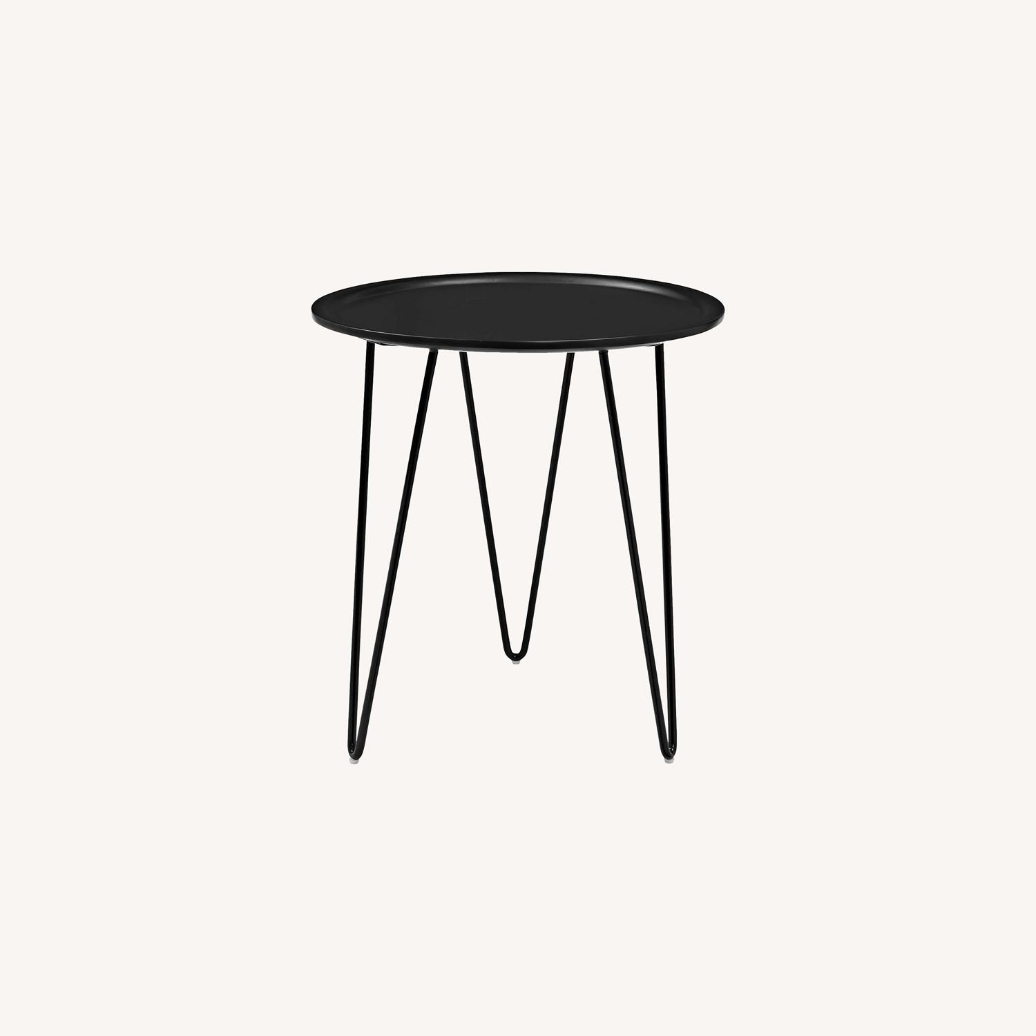 Mid-Century Style Side Table In Black Matte Finish - image-4