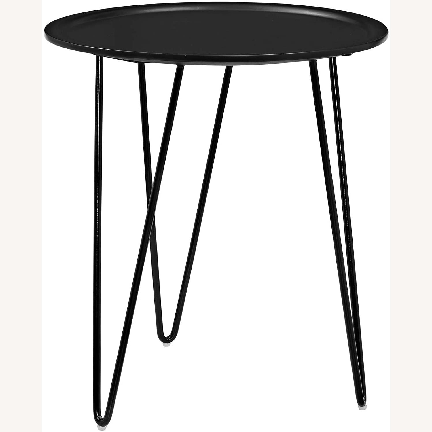 Mid-Century Style Side Table In Black Matte Finish - image-1