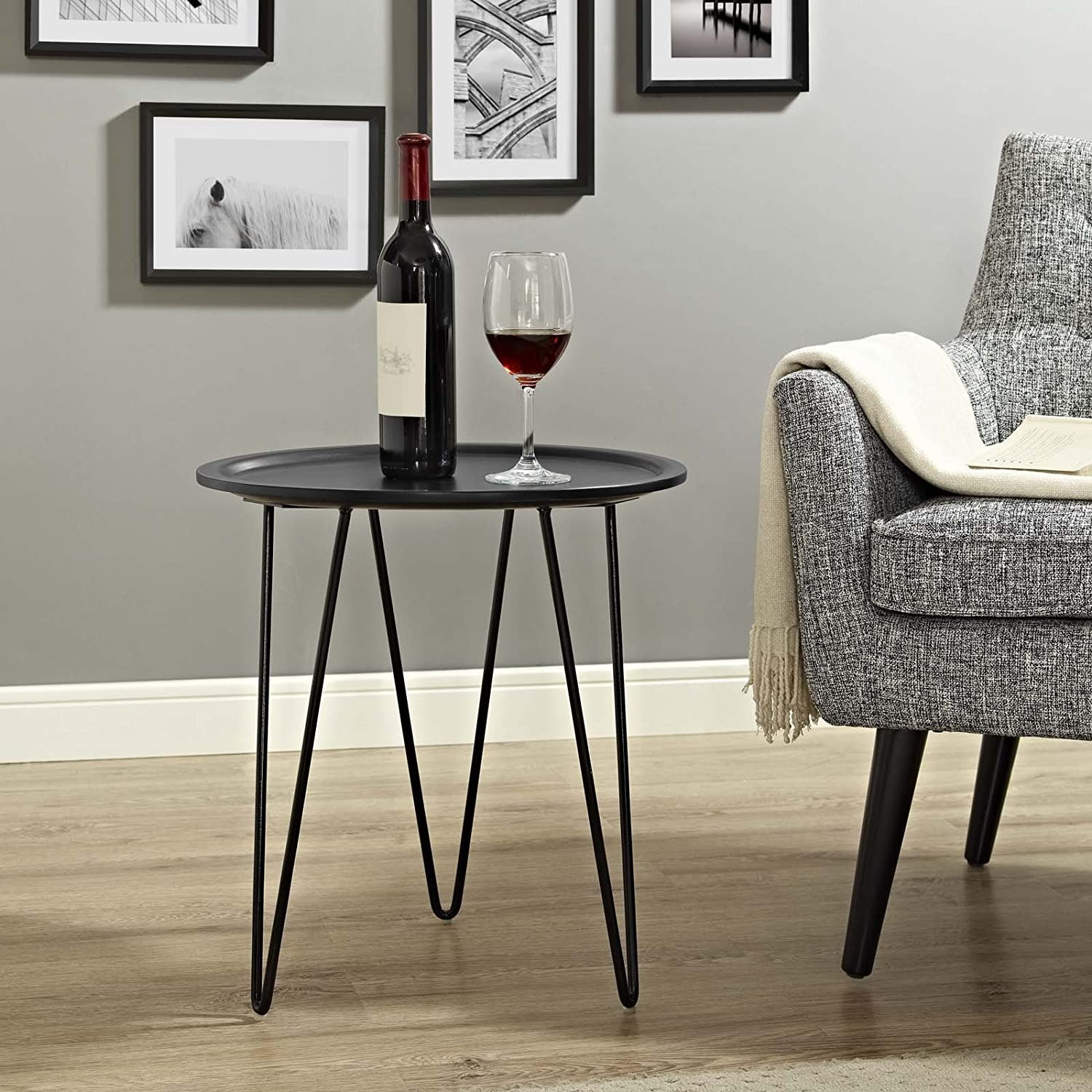 Mid-Century Style Side Table In Black Matte Finish - image-3