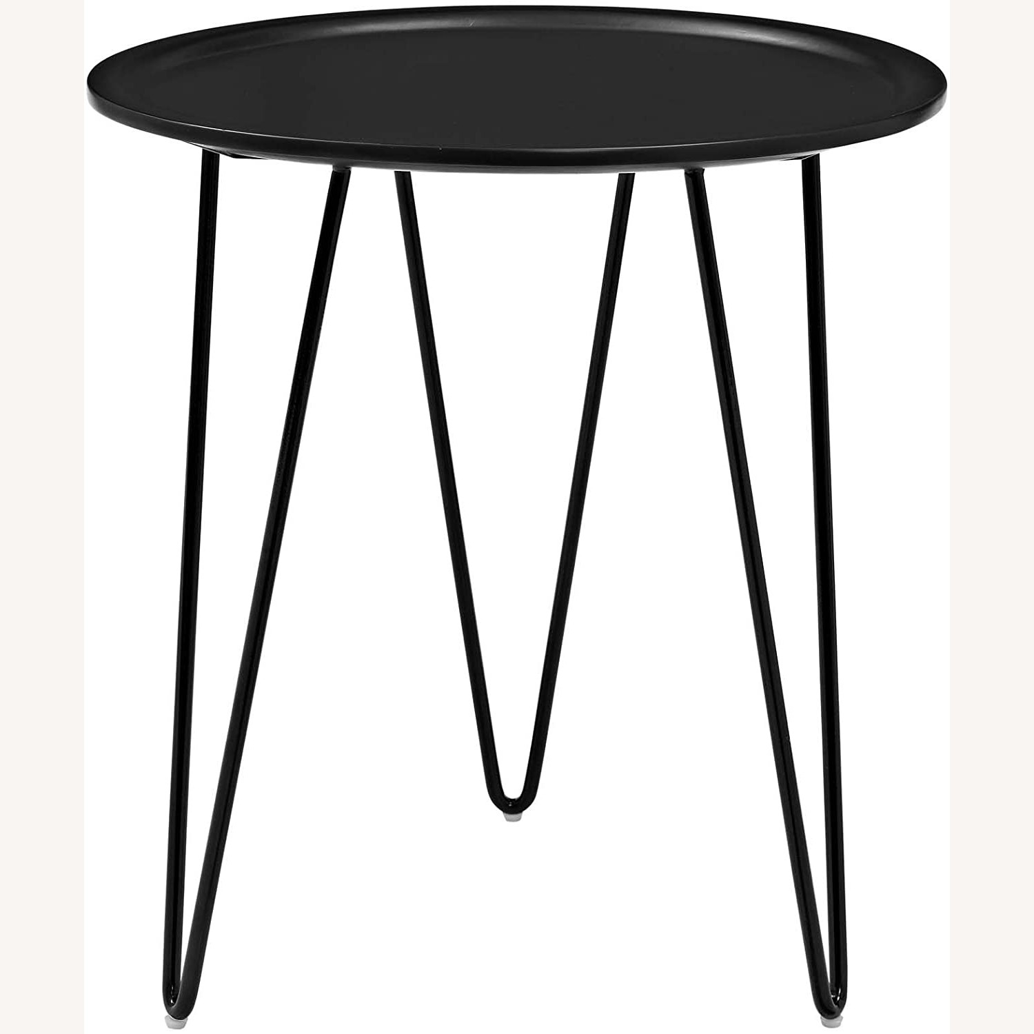 Mid-Century Style Side Table In Black Matte Finish - image-0