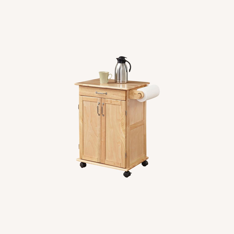 Paneled Door Kitchen Cart with Natural Finish - image-0