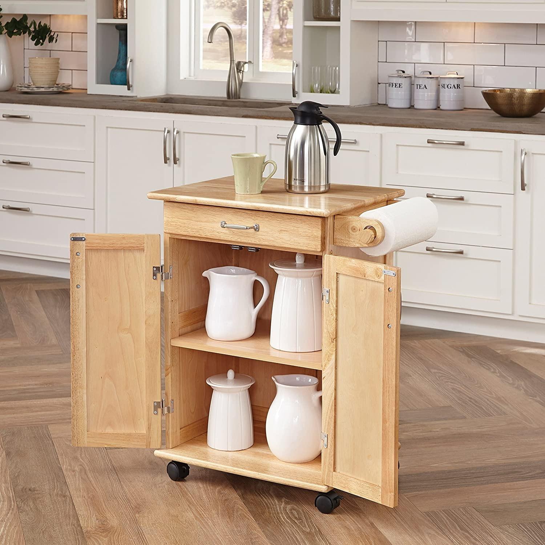 Paneled Door Kitchen Cart with Natural Finish - image-1