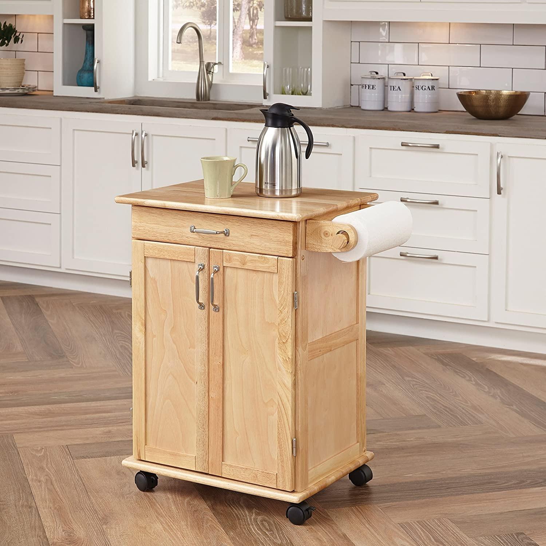 Paneled Door Kitchen Cart with Natural Finish - image-2