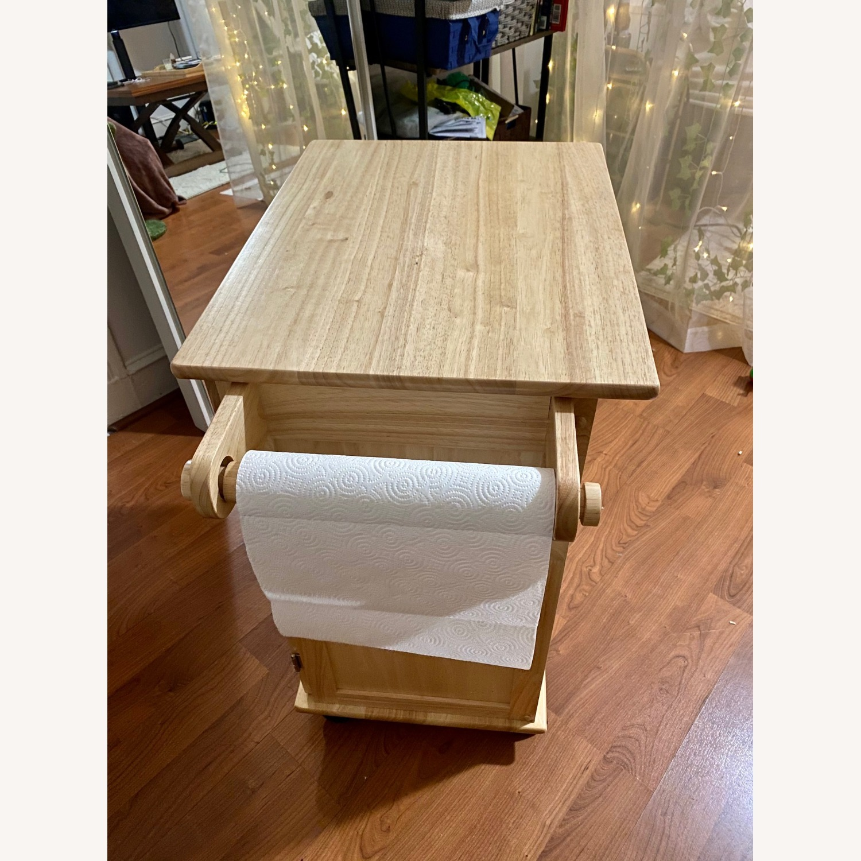 Paneled Door Kitchen Cart with Natural Finish - image-6