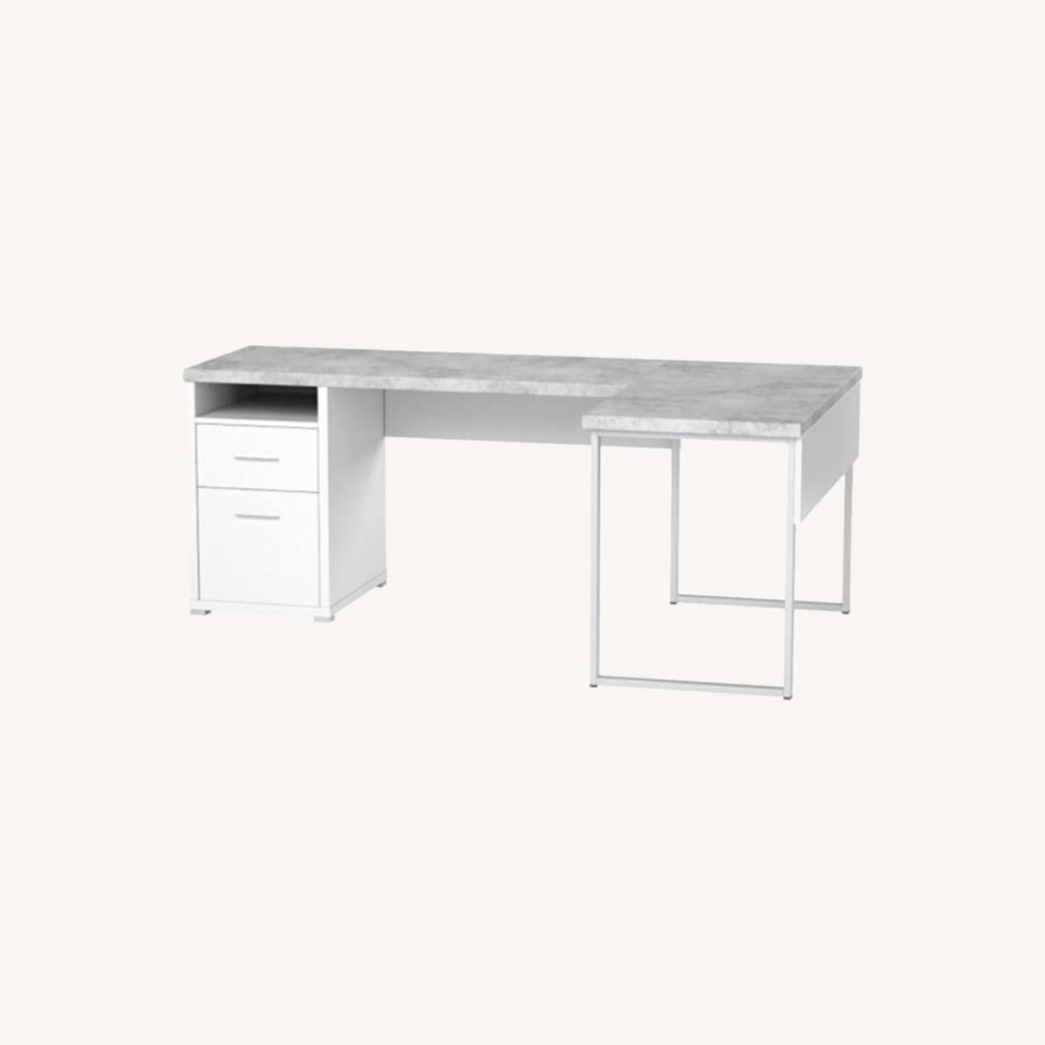Monarch Computer Desk White / Cement - image-0