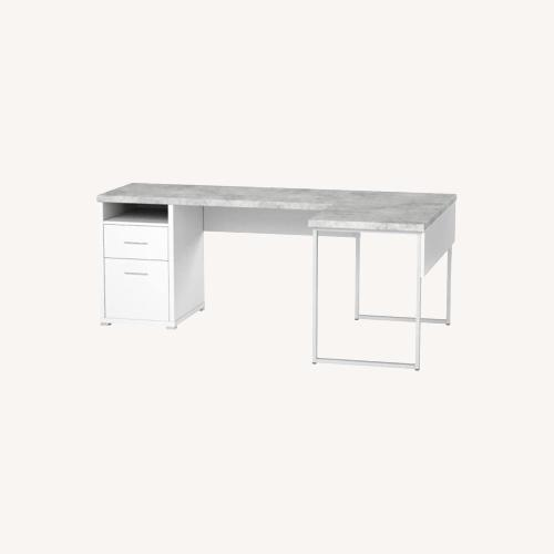 Used Monarch Computer Desk White / Cement for sale on AptDeco