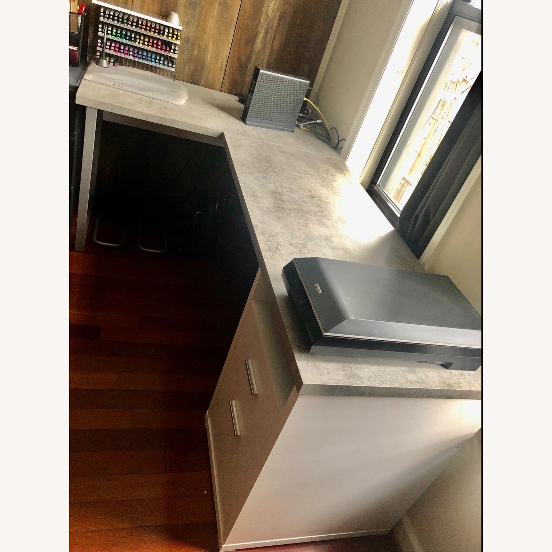 Monarch Computer Desk White / Cement - image-4