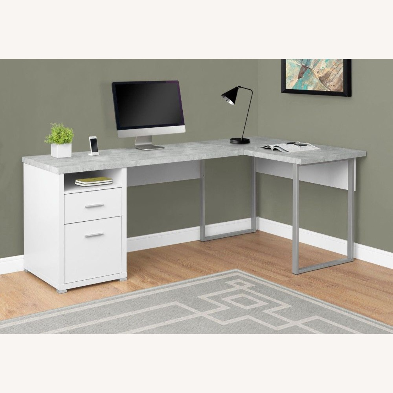 Monarch Computer Desk White / Cement - image-1