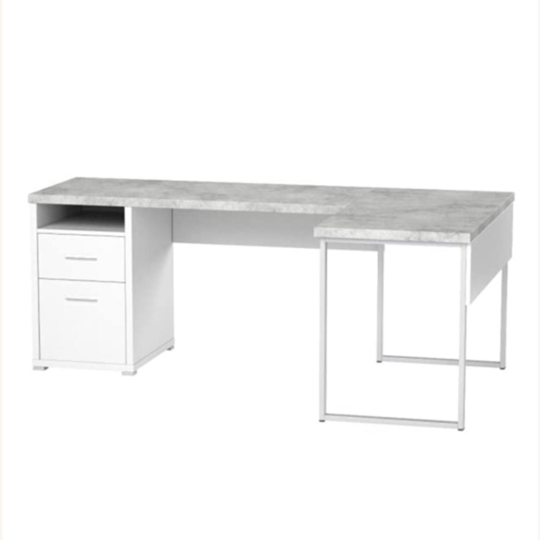 Monarch Computer Desk White / Cement - image-2