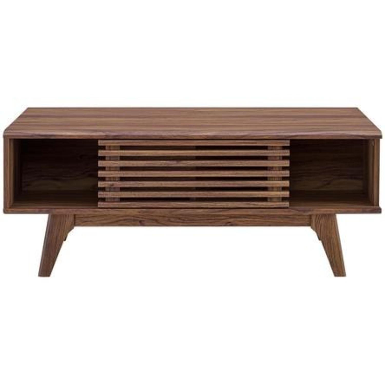 Mid-Century Modern Coffee Table In Walnut Finish - image-2