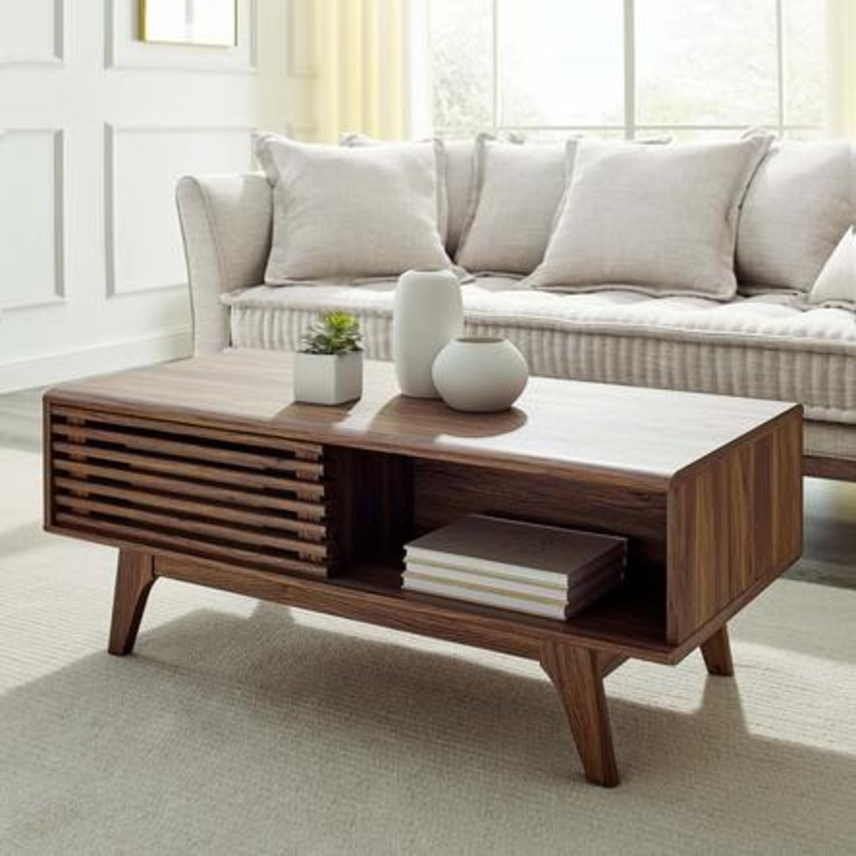 Mid-Century Modern Coffee Table In Walnut Finish - image-7