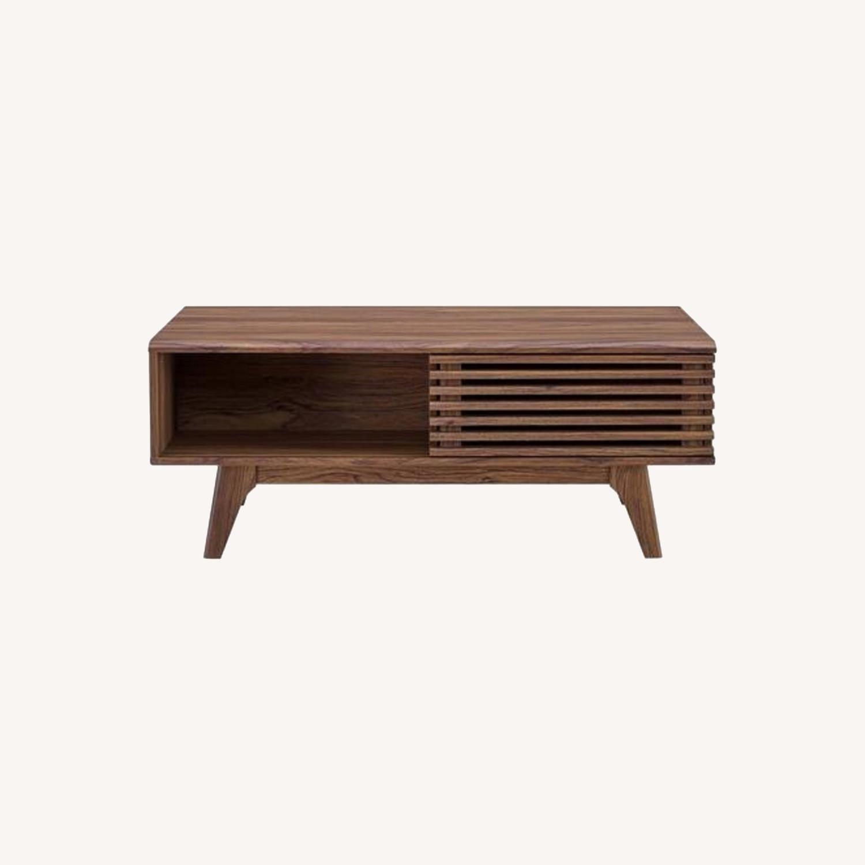 Mid-Century Modern Coffee Table In Walnut Finish - image-8