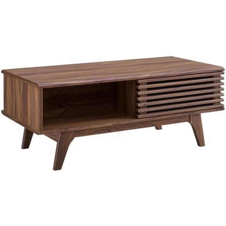 Mid-Century Modern Coffee Table In Walnut Finish - image-0